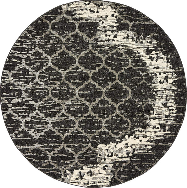 9715 Charcoal Gray Moroccan Trellis Round Area Rugs