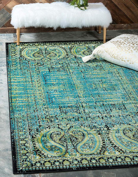 9314 Aqua Green Distressed Oriental Area Rugs