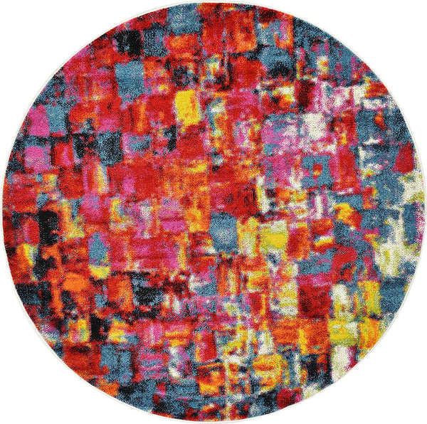 9710 Blue Multi Color Contemporary Round Area Rugs