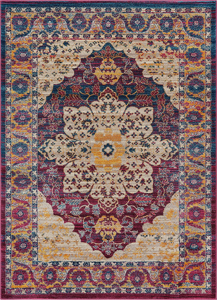 2921 Purple Multi Color Oriental Area Rugs
