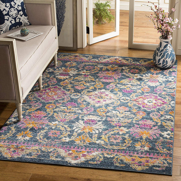 0120 Blue Purple Bohemian Distressed Oriental Area Rugs