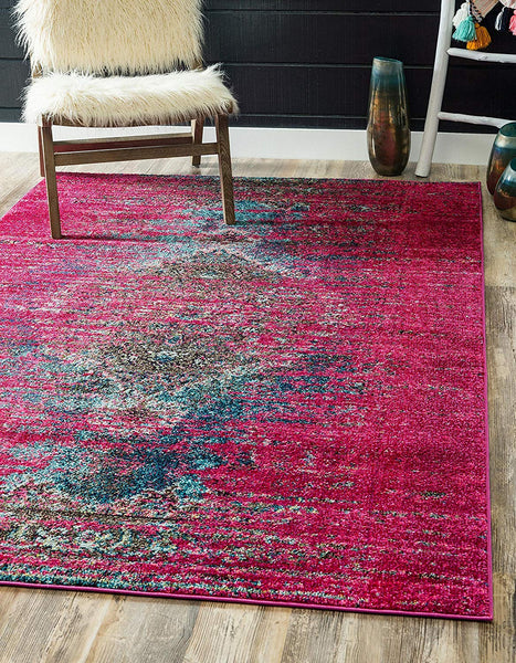 9324 Pink Colorful Distressed Oriental Area Rugs