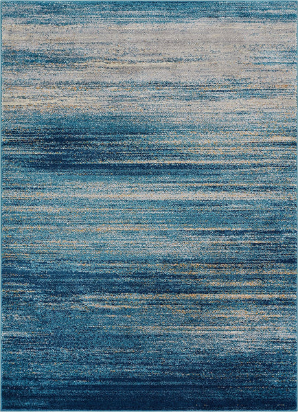 2956 Blue Stripes Modern Contemporary Area Rugs