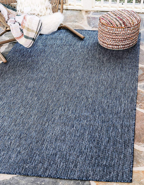 7192 Blue Solid Color Indoor-Outdoor Area Rugs