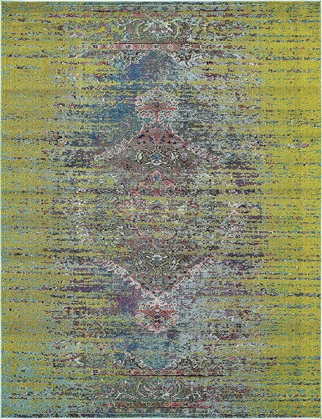 9324 Green Colorful Distressed Oriental Area Rugs
