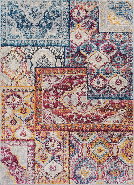 2934 Blue Red Patchwork Oriental Area Rugs