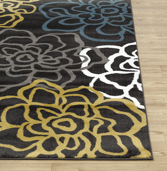 3801 Yellow Contemporary Area Rugs
