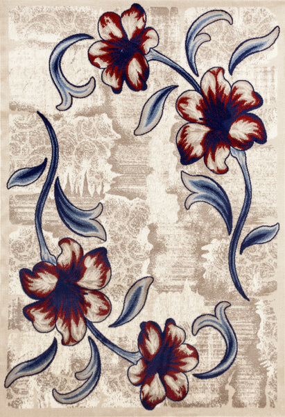 212 Beige Red Floral Contemporary Area Rugs