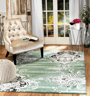 4625 Green Damask Oriental Area Rugs