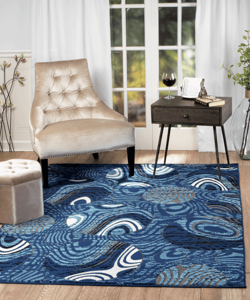2053 Blue Abstract Contemporary Area Rugs