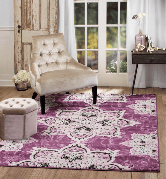 4627 Purple Pink Medallion Traditional Area Rugs
