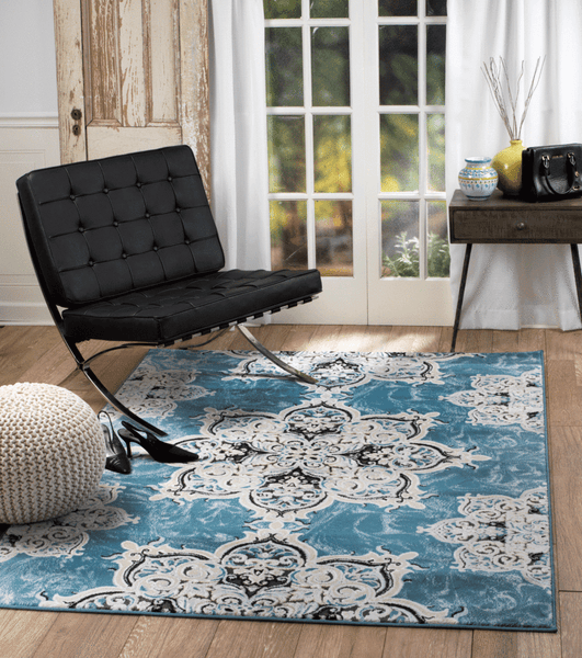 2706 Turquoise Medallion Transitional Area Rugs