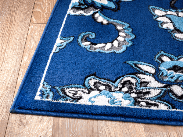 2054 Blue Floral Contemporary Area Rugs