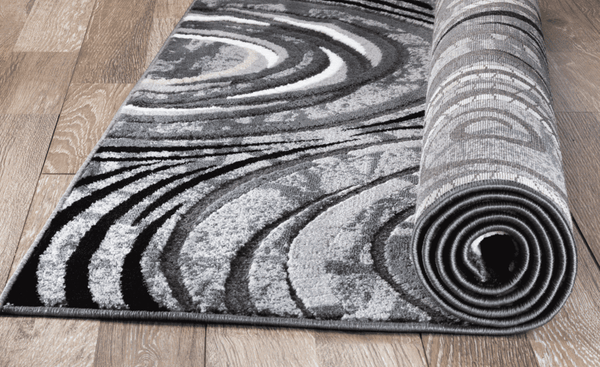 2055 Gray Circle Design Contemporary Area Rugs