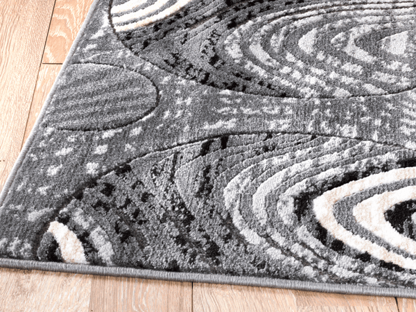 2059 Gray Circle Design Contemporary Area Rugs