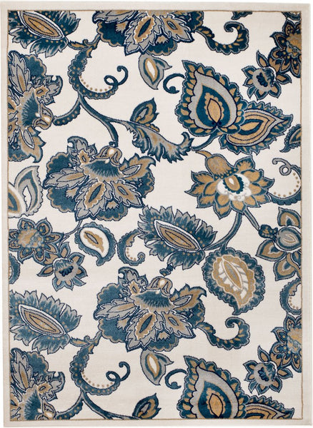2082 Blue Floral Contemporary Area Rugs