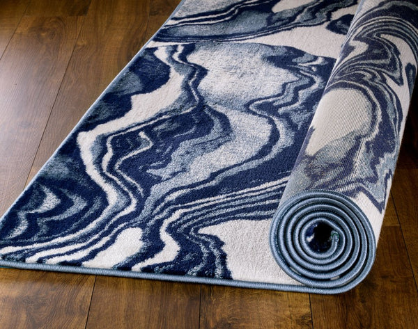 2082 Blue Abstract Contemporary Area Rugs