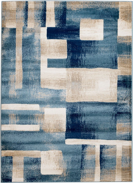 2083 Blue Beige Abstract Contemporary Area Rugs