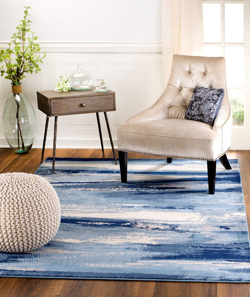 2084 Blue Beige Abstract Contemporary Area Rugs