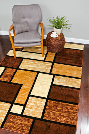 Beige Brown Geometric Abstract Contemporary Area Rugs