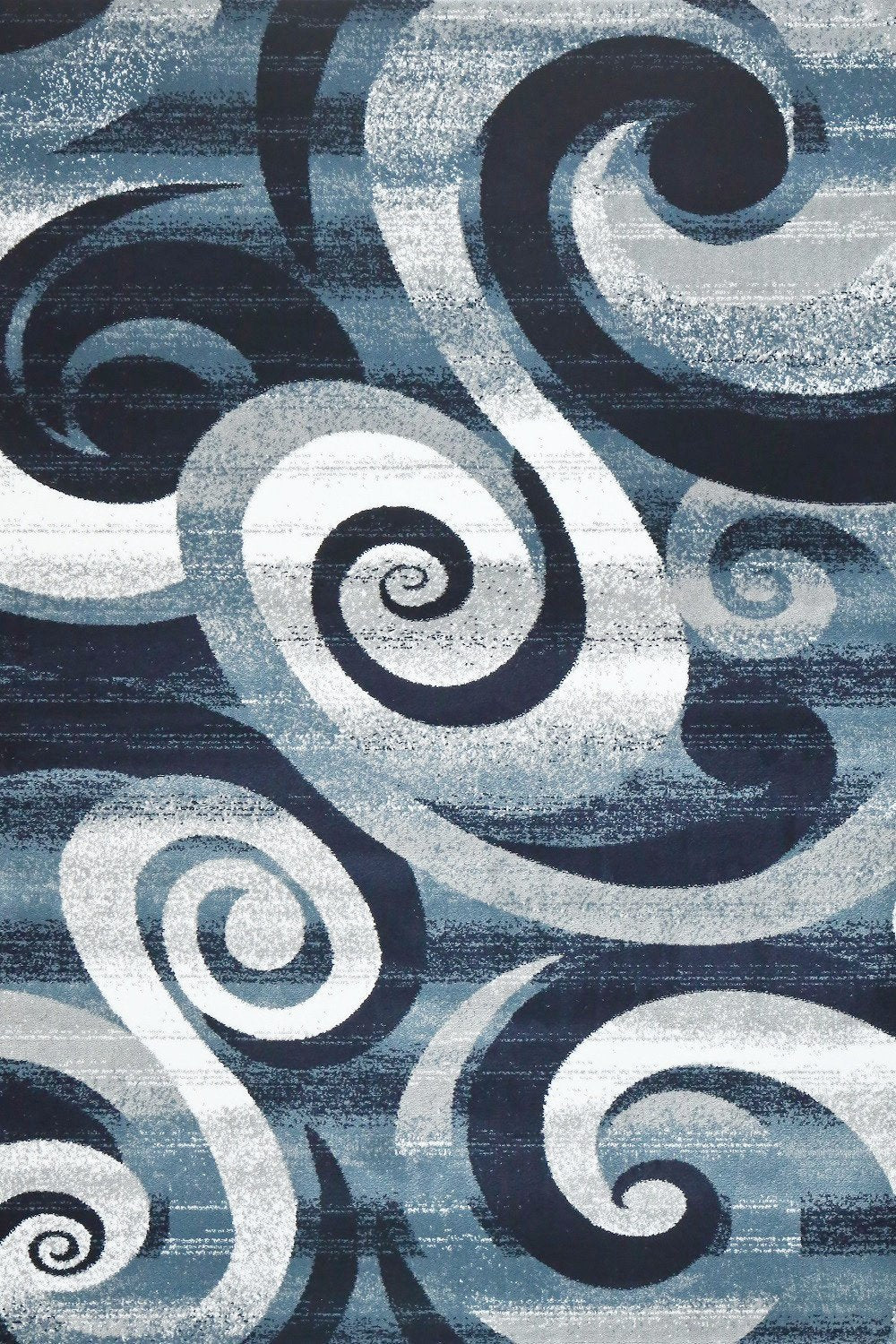 Navy Blue Swirls Abstract Contemporary Area Rugs ...