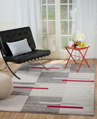 2078 Gray Red Geometric Contemporary Area Rugs