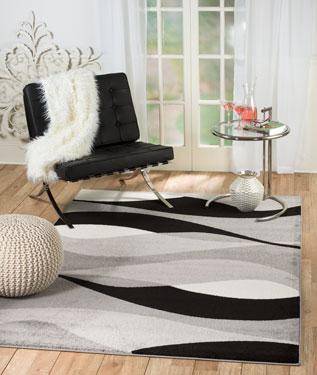 2061 Gray Black Abstract Contemporary Area Rugs