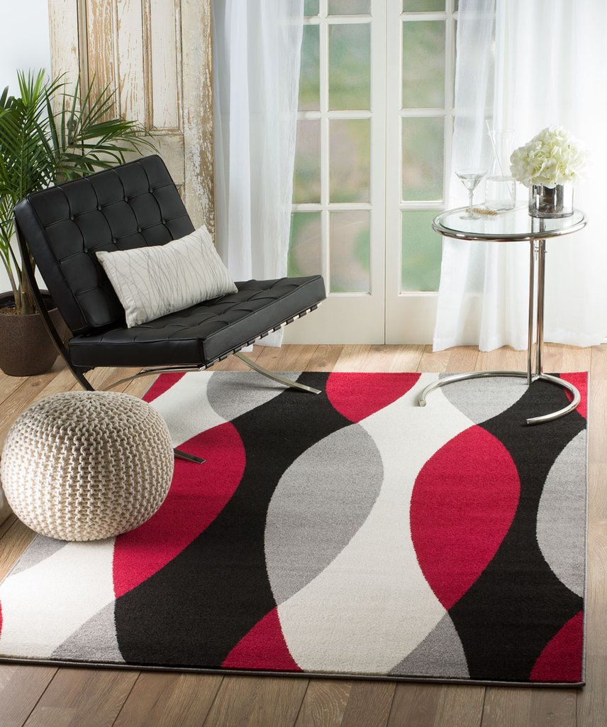 Red Black Geometric Contemporary Area Rugs For Living Room Bedroom