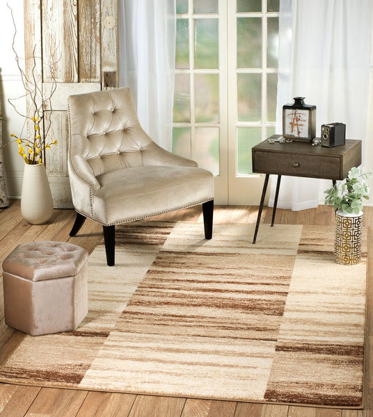 2073 Beige Brown Squares Design Contemporary Area Rugs