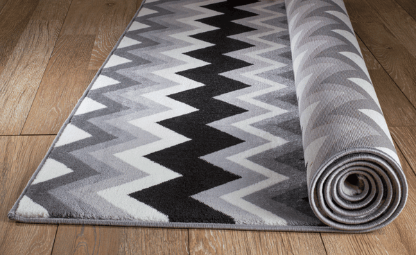 2050 Gray Black Stripes Design Contemporary Area Rugs
