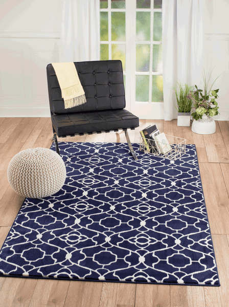 2051 Navy Blue Trellis Contemporary Area Rugs