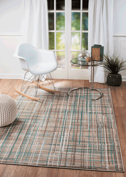 2040 Beige Turquoise Abstract Area Rugs