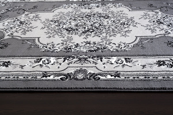 Gray Grey Victorian French Floral Traditional Rugs | Bargain Area Rugs
