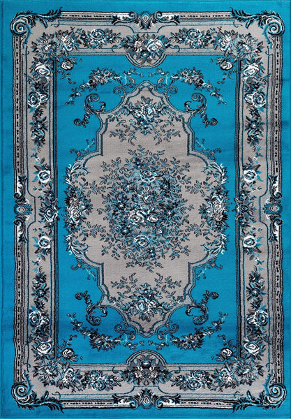 Turquoise Victorian French Floral Traditional Rugs | Bargain Area Rugs