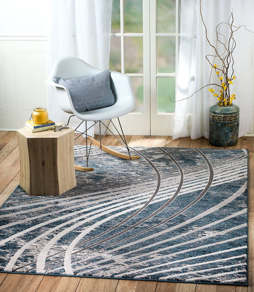 2087 Blue Gray Abstract Thick Pile Contemporary Area Rugs