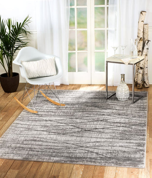 2090 Gray Stripes Thick Pile Contemporary Area Rugs
