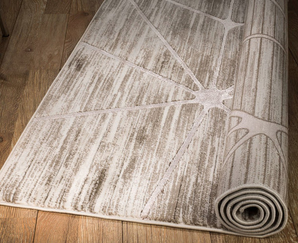 2096 Beige Abstract Thick Pile Contemporary Area Rugs