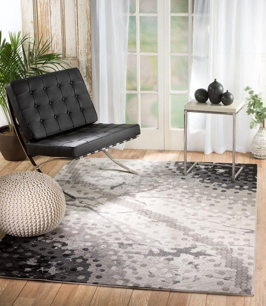 2095 Gray Abstract Thick Pile Contemporary Area Rugs