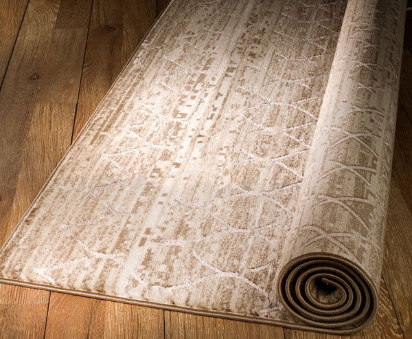 2091 Beige Trellis Thick Pile Contemporary Area Rugs