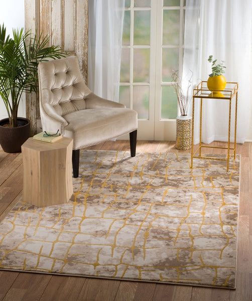 2093 Beige Abstract Thick Pile Contemporary Area Rugs