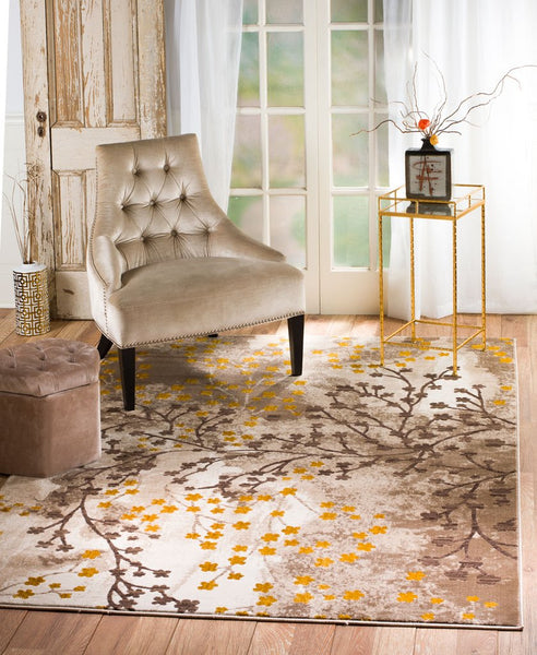2092 Beige Branches Thick Pile Contemporary Area Rugs
