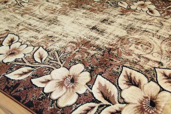 Brown Branches Floral Transitional Area Rugs