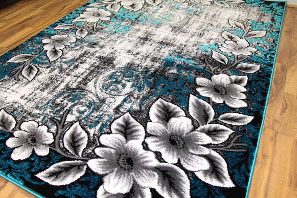 Turquoise Floral Unique Transitional Area Rugs