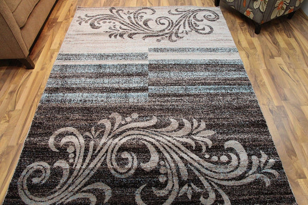 Beige Brown Blue Abstract Transitional Area Rugs