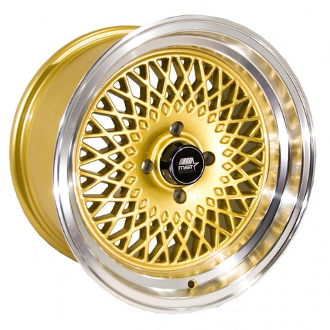 "MST Wheels MT05 Gold w/Machined Lip 15"" 4x100"