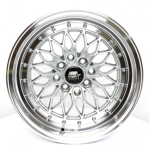 "MST Wheels MT36 Silver w/Machined Lip 15"" 4x100/114.3 +20"