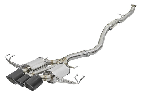 "aFe POWER Takeda 3"" 304 Stainless Steel Cat-Back Exhaust System w/ Tri-Carbon Tips - FK8"