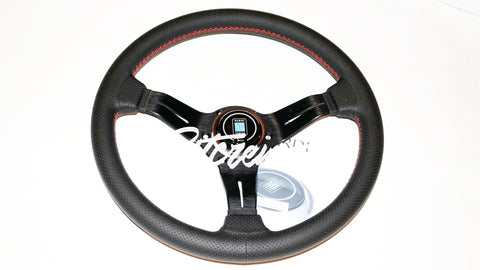 Nardi Deep Corn 330mm Black Perforated Leather Red Stitch Steering Wheel