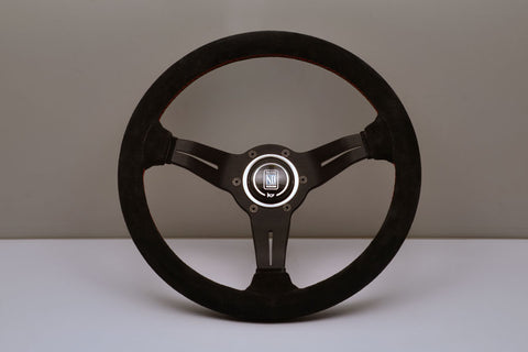 Nardi Deep Corn 330mm Black Suede Red Stitch Steering Wheel