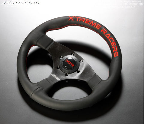 J'S Racing XR Steering Type-F Leather / Red stitch
